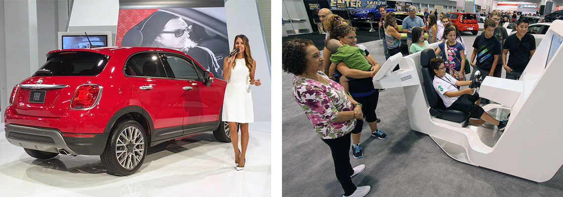 Event host introducing new SUV and child playing in driving simulator